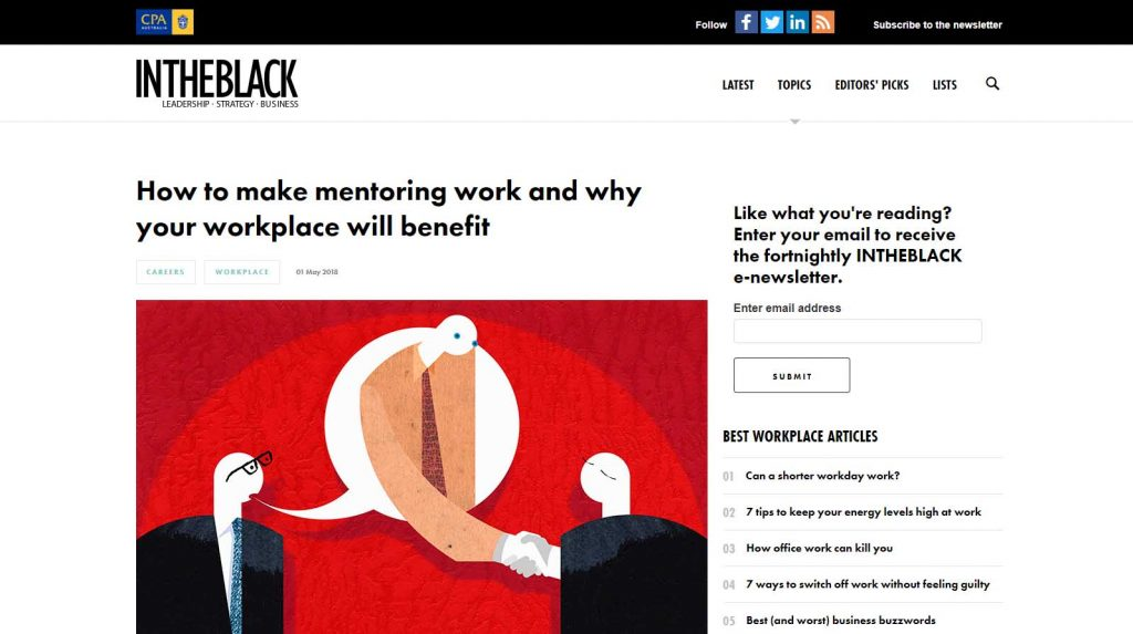 Screenshot of In the Black article from 2018