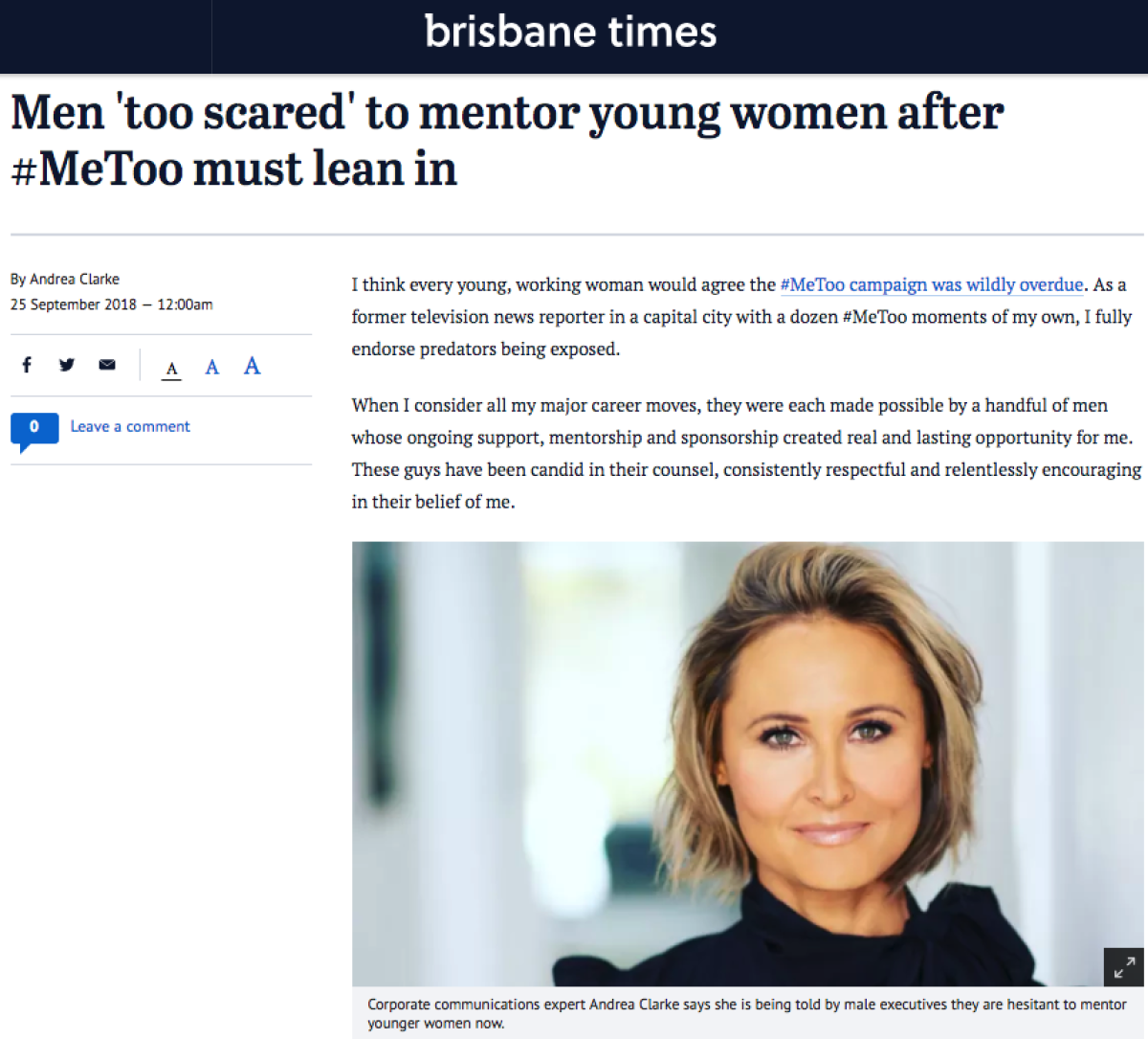 Brisbane Times: Men 'too scared' to mentor young women after