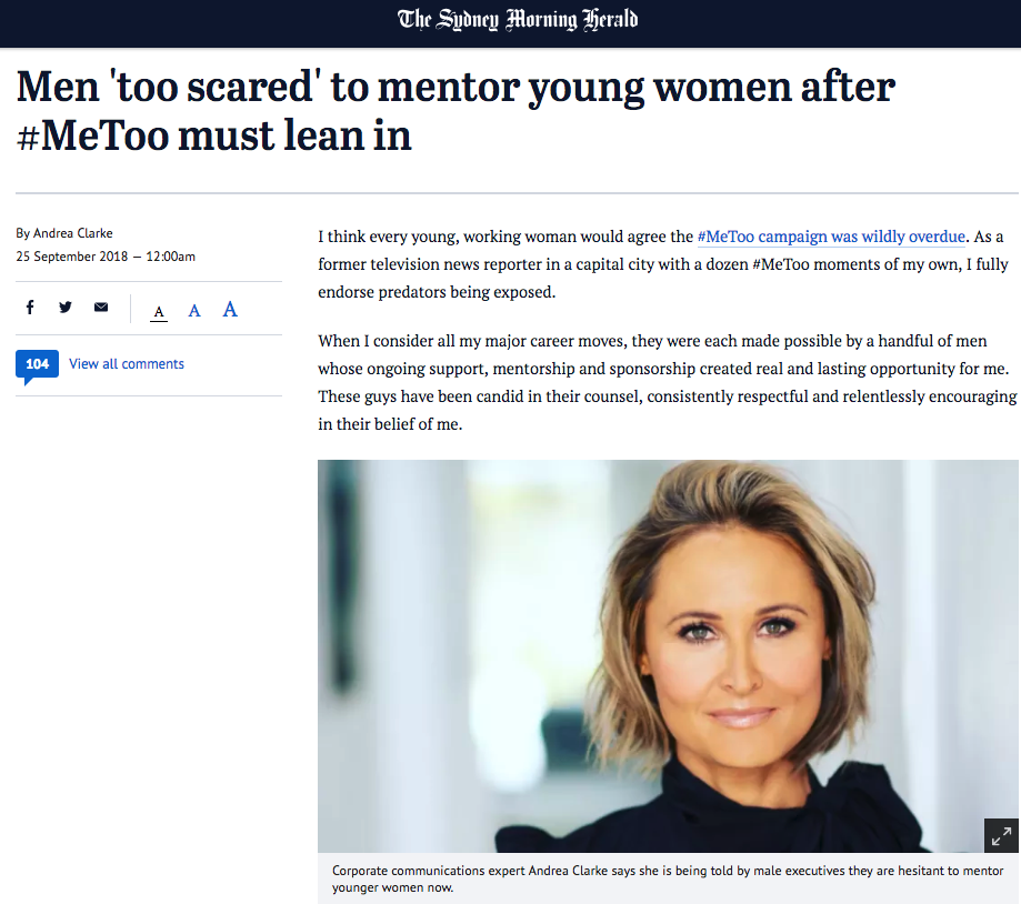 Sydney Morning Herald: Men 'too scared' to mentor young women after #MeToo must lean in