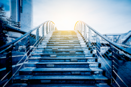 Image of stairs leading somewhere as a representation of employee-led mentoring
